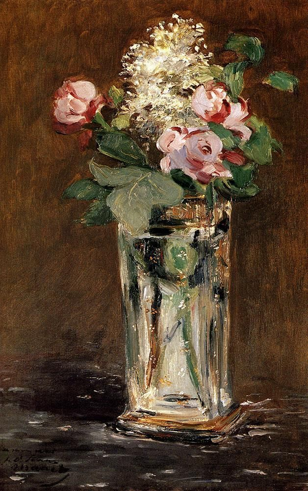 Edouard Manet Flowers In A Crystal Vase painting | framed paintings for sale