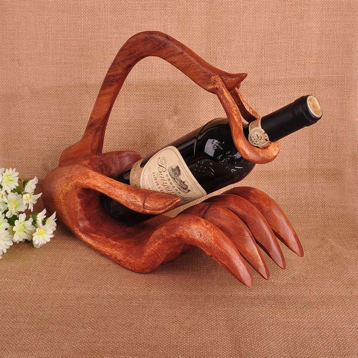 Elegant Buddha Hand Wine Holder Creative Retro Furniture Made of Solid Wood Elegant Manual Home Decorations Ornaments Wine Racks