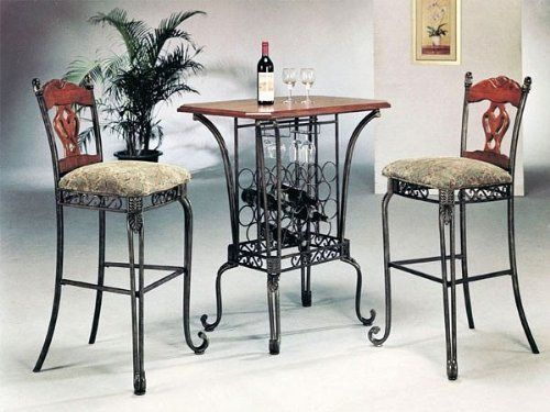 3 Piece Bar Table Set With Wine Rack Base