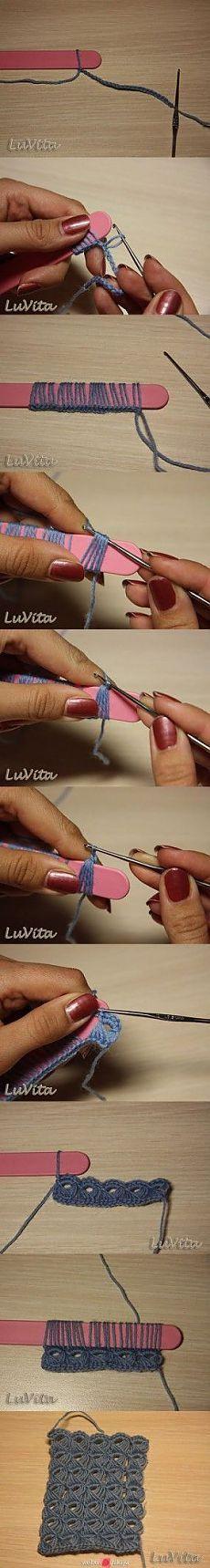 Используем для вязания крючком пилочку.