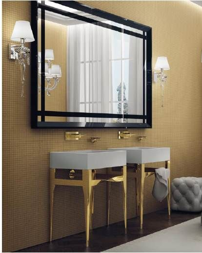 A big mirror and two consolle #washbasins with golden legs, Leather pouf - hand-made in the best Italian ateliers #Autoritratti