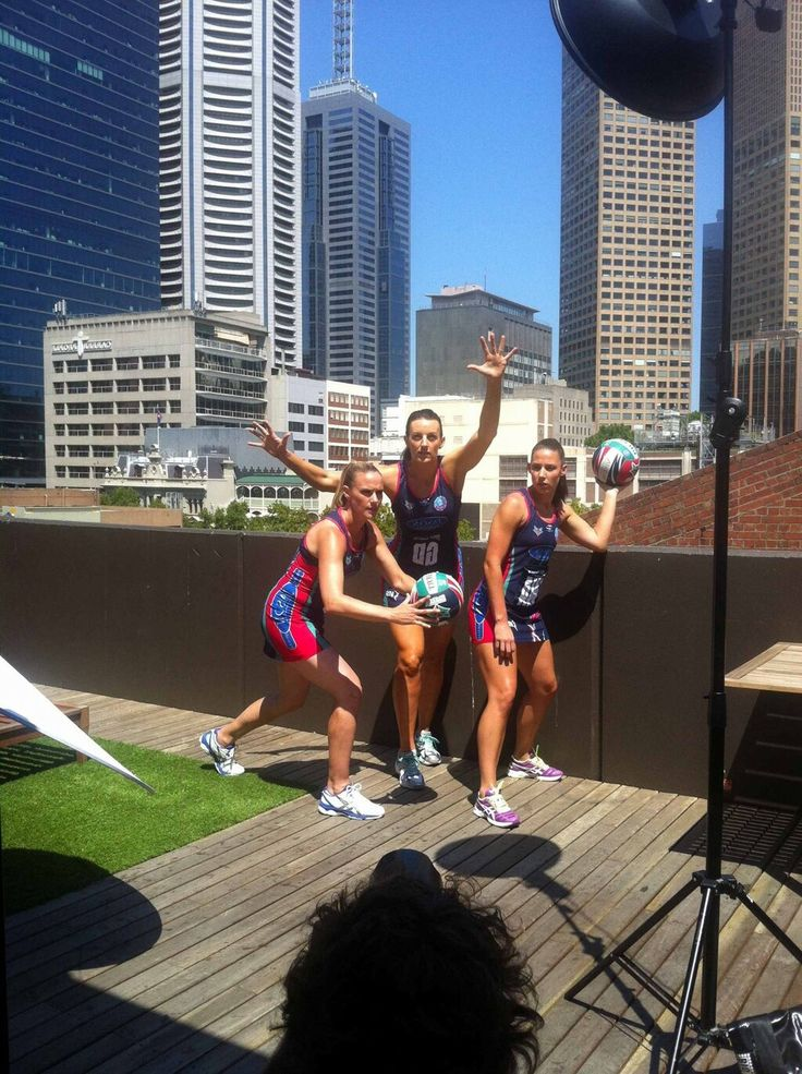 Sharelle McMahon, Bianca Chatfield and Madison Browne on a very exciting, but top secret photo shoot via @MelbourneVixens (twitter).