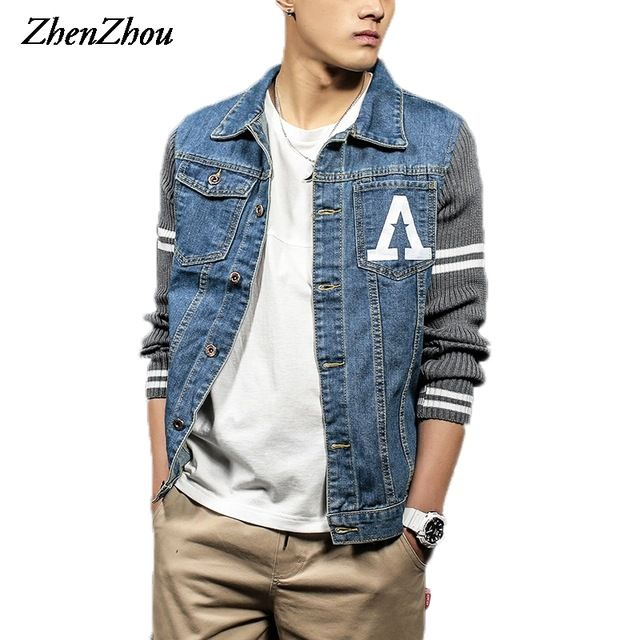 Good price ZhenZhou S-5XL Mens Fall Jacket Denim Patchwork Knitted Sleeve JC28  Bomber Jacket Men Veste Homme Chaquetas Hombre 2016 just only $24.99 with free shipping worldwide  #jacketscoatsformen Plese click on picture to see our special price for you