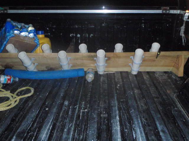 Fishing rod rack idea for truck or utv bed