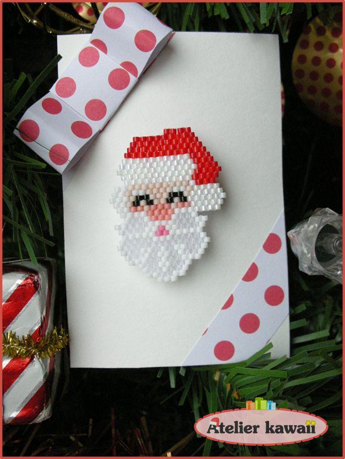 "Broche ""père Noël"" en perles Miyuki (tissage brick stitch)."