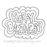 happy birthday coloring pages familyfuncoloring - Birthday Coloring Pages Girls