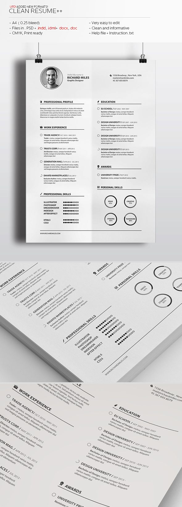 Clean Resume+ by Realstar, via Behance