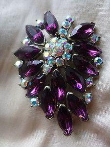 Gorgeous Vintage Weiss Purple Rhinestone AB Brooch Pin | eBay