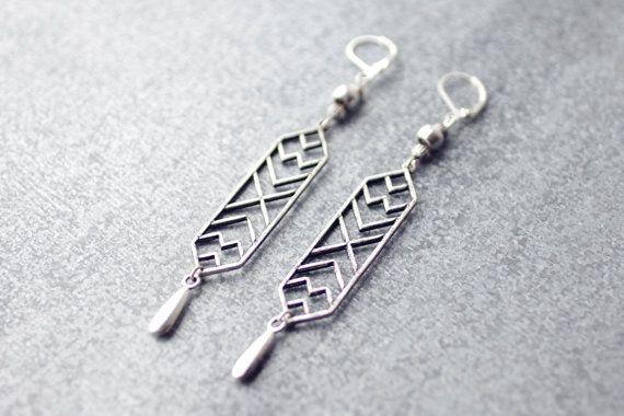 Geometric antique silver earrings, boho earrings, drop earrings, chandelier earrings, aztec