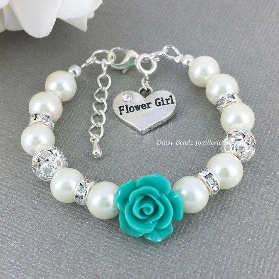 Fleur turquoise et Ivoire Bracelet de perles, bijoux de fille de fleur, fleur fille cadeau, Bracelet en ivoire, les enfants Bracelet, les bijoux de la jeune fille, mariage
