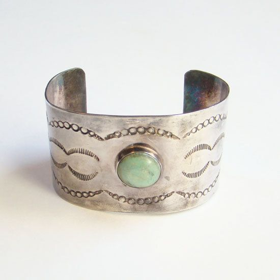 Vintage Sterling Turquoise Cuff Bracelet Stamp Decorated Southwestern Sheet Silver by redroselady on Etsy
