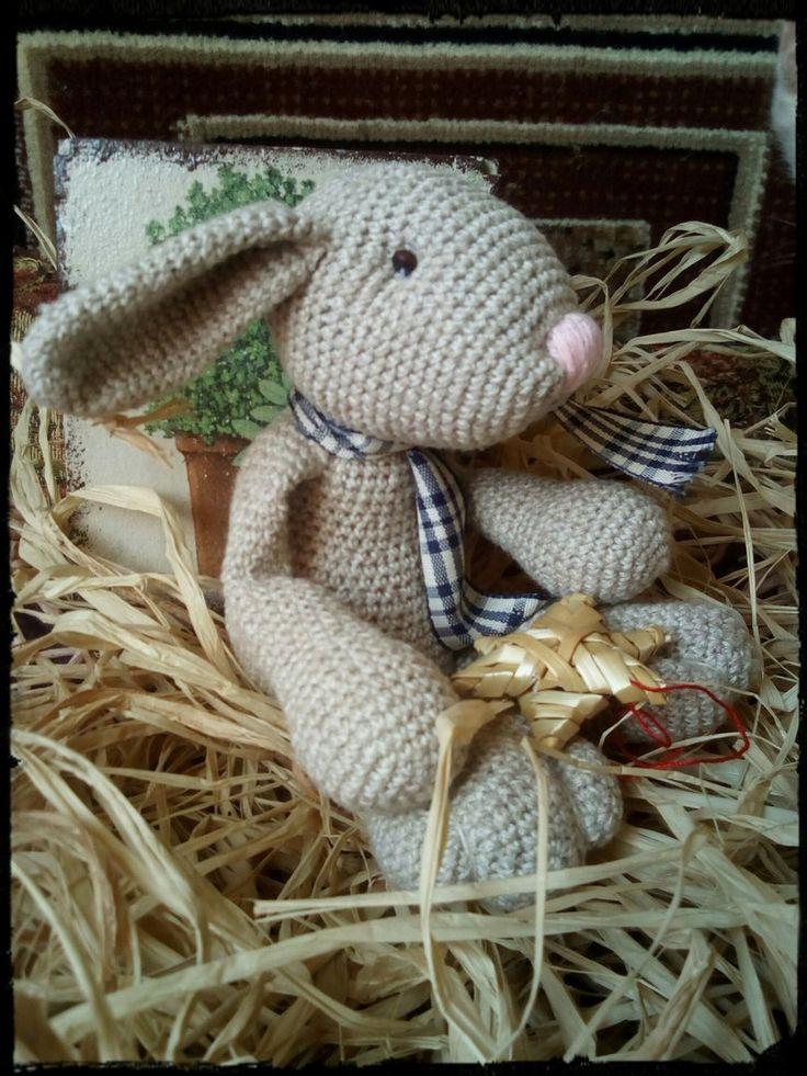 Пасхальный кролик, кролик крючком. 50%лён, 50% хлопок, натуральные материалы