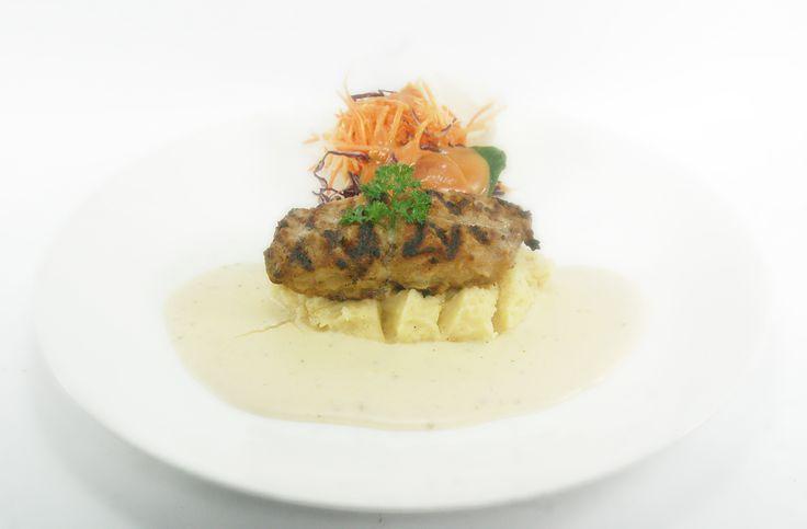 KAKAP STEAK SICILLIA,  Served with mashed potato & fresh salad  in cheesy basil sauce