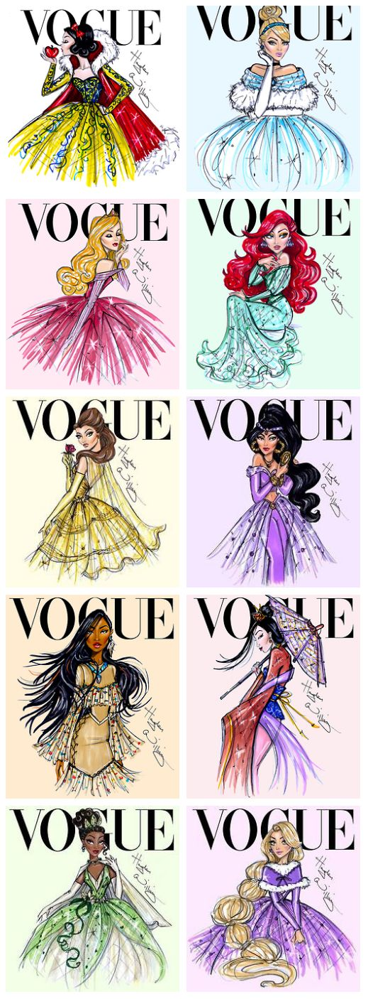 Disney Princesses in Vogue: Snow White, Cinderella, Aurora, Ariel, Belle, Jasmine, Pocahontas, Mulan, Tiana, and Rapunzel!