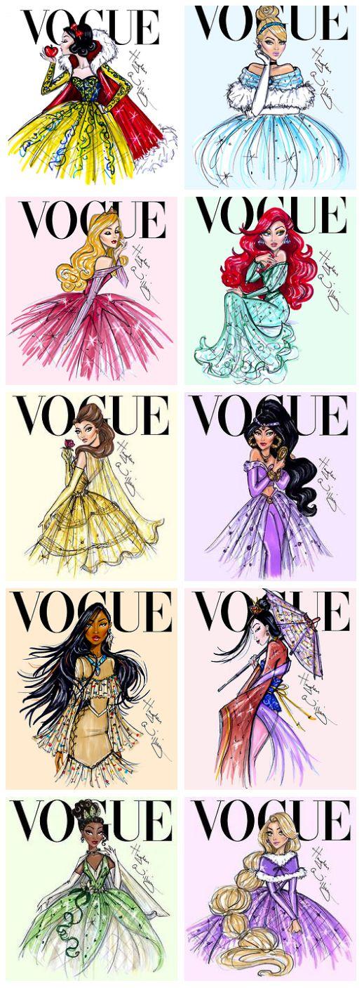 Disney Princesses in Vogue: Snow White, Cinderella, Aurora, Ariel, Belle, Jasmine, Pocahontas, Mulan, Tiana, and Rapunzel!