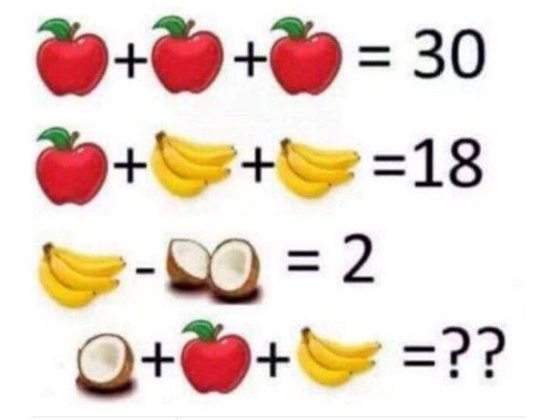 Problema de matemática com frutas faz sucesso nas redes sociais