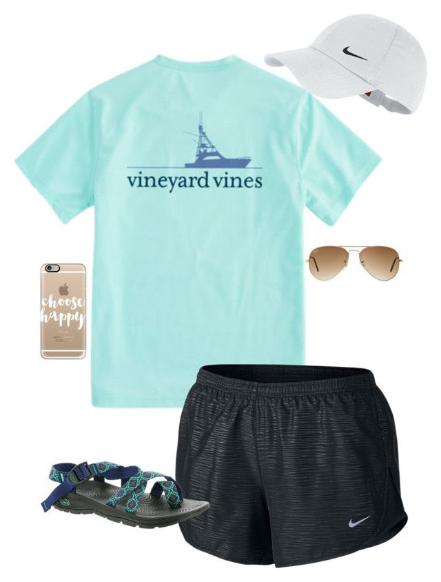 """""""Doctors apt. @ 3:30"""" by livimay ❤ liked on Polyvore featuring Vineyard Vines, NIKE, Chaco, Ray-Ban and Casetify"""