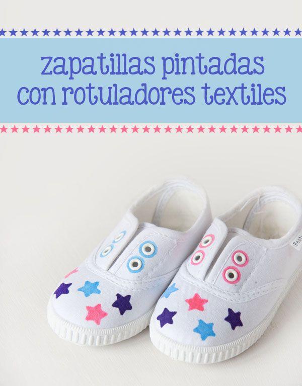 Zapatillas pintadas con rotuladores textiles #diy #craftyblog