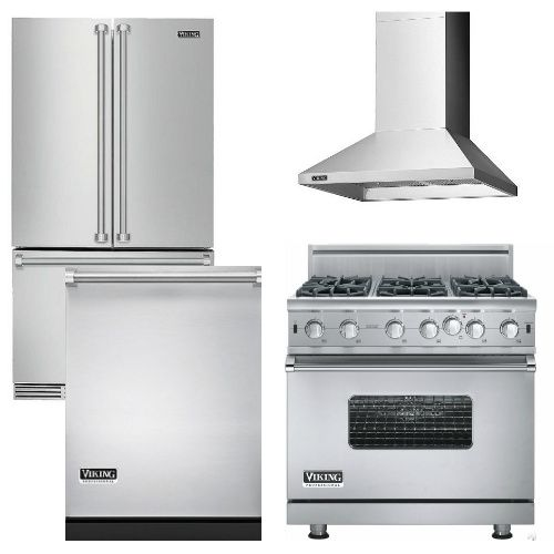 Package V7 - Viking Appliance Package - 4 Piece Luxury Appliance Package - Stainless Steel - Gas