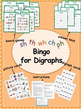 Fun bingo game for practicing digraphs!