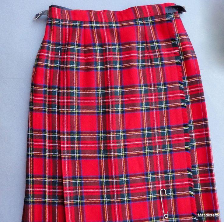 Blarney Woollen Mills Kilt #Skirt size 12 UK Red Irish Plaid Tartan Ireland Wrap  #BlarneyWoollenMills #Kilt