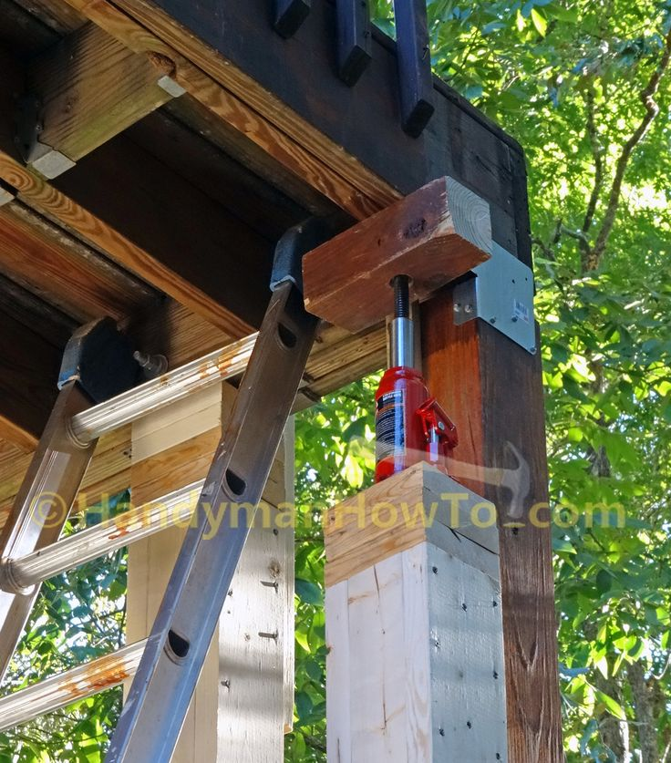 How to Install a 6x6 Wood Deck Post by jack up the deck install a new 6x6 deck post with steel