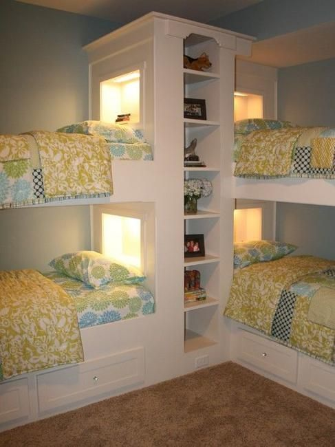 Kids room design for children in a big family can be challenging. Kids have to share a room. Space saving bunk beds help kids avoid the frustrations that come with small spaces, and create comfortable kids room design. Lushome collection of kids room design ideas show how to use four bunk beds in sm