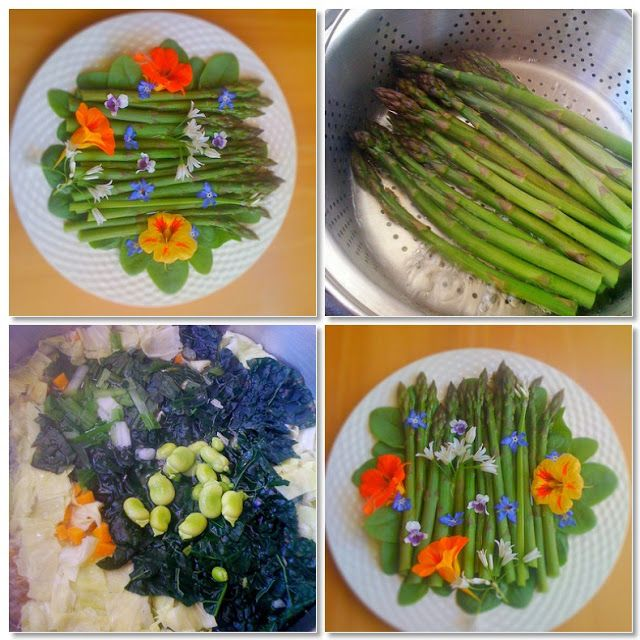 Cooking with flowers: Spring asparagus steamed over a vegetable soup, and eating flowers