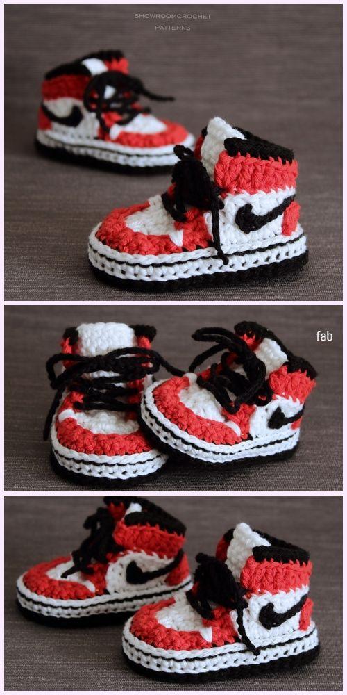 bfa3687fbf7d3 Crochet Nike Style Baby Sneaker Booties Free Crochet Pattern - Video ...
