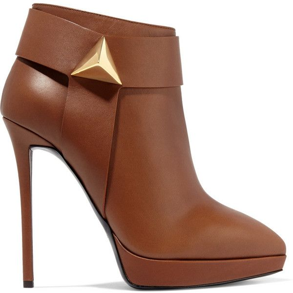 Giuseppe Zanotti Embellished leather ankle boots (£346) ❤ liked on Polyvore featuring shoes, boots, ankle booties, booties, heels, sapatos, brown, ankle boots, platform boots e leather booties