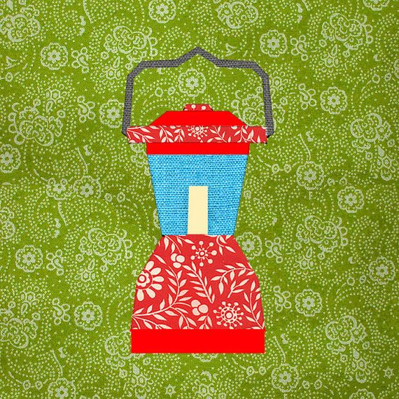 Camping Lantern Paper pieced quilt block pattern by BubbleStitch, $2.90