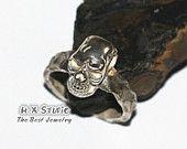 Handmade Silver Skull Ring, Sterling Skull, Human Skull Ring, Steam Punk Jewelry, Halloween