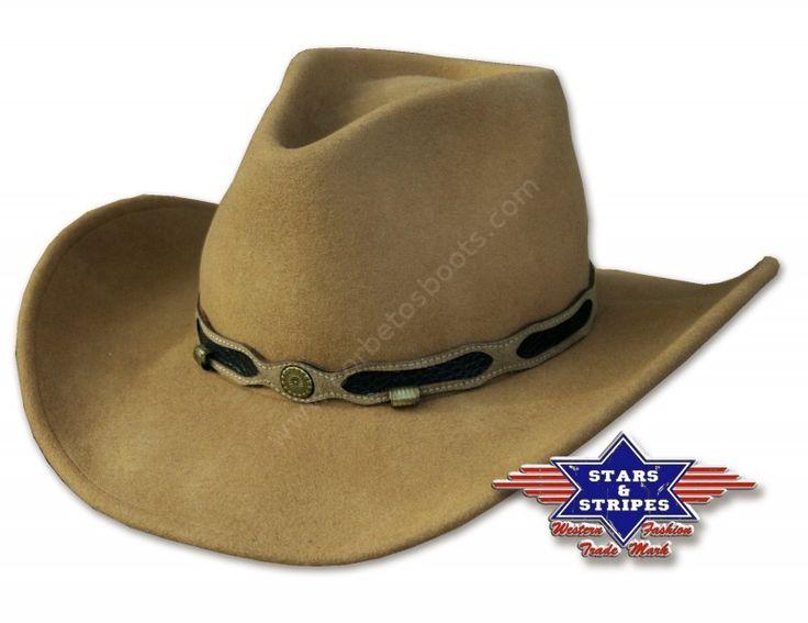 Corbeto's Boots | 50-CLINT | Sombrero cowboy unisex Stars & Stripes fieltro lana marrón claro | Men and women light brown crushable felt cowboy hat.