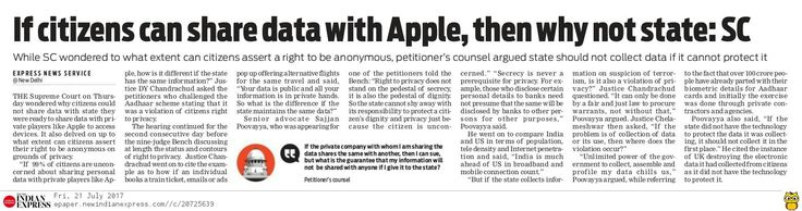 Supreme Court asked that when one can share personal data private companies, why not share it with the government.