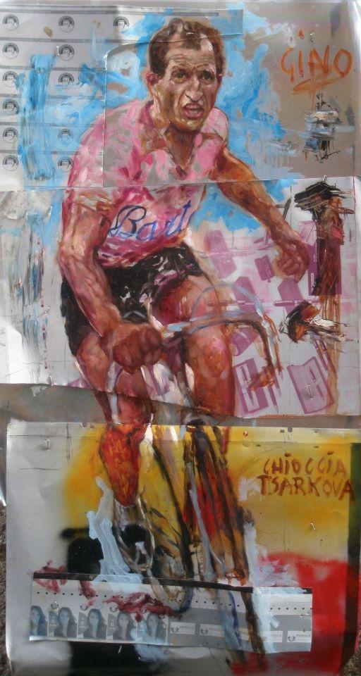"""""""Aspettando Bartali Gino Waits""""   Pittura su lastre di stampa in alluminio ( matrici Offset) con publicità della Democrazia Cristiana, inchiodate su telaio- cm 70X150."""