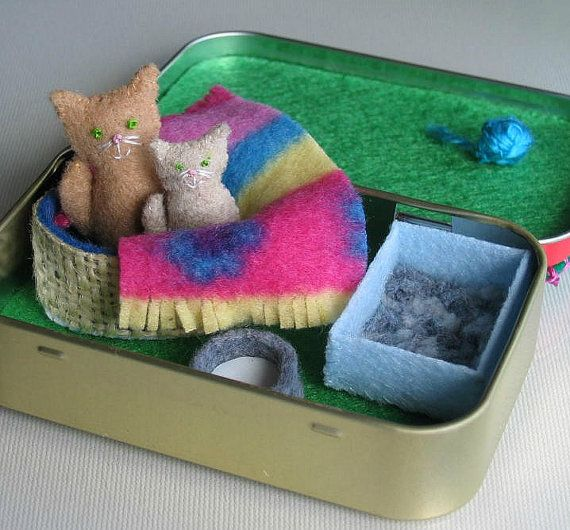Cat and kitten plush miniature in Altoid tin playset- bed blanket milk bowl and litter box
