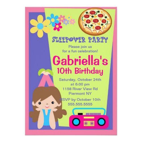 pizza birthday party invitations slumber party fun birthday invitation - Sleepover Birthday Party Invitations