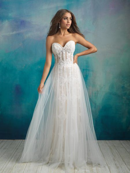 ff5e6bd4dfa3 ALLURE BRIDALS-STRAPLESS SWEETHEART NECKLINE BEADED AND EMBROIDERED SHEATH  WEDDING DRESS WITH ATTACHED TULLE OVERSKIRT