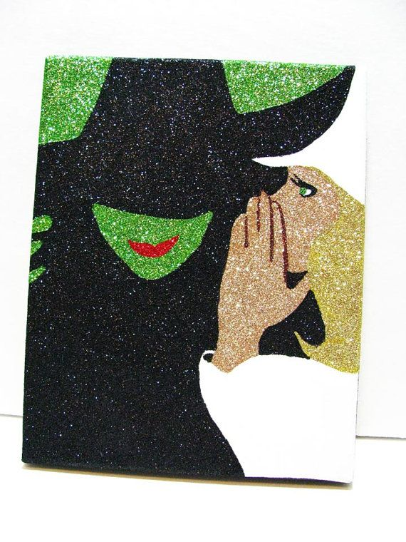 What a fun accessory! This 8 x 10 Glitter painting of the iconic Wicked Playbill cover will add a dash of sparkle to any room! The glitter is carefully