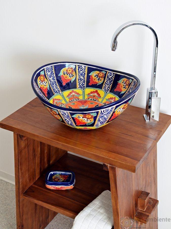 Fantasia  - MEX 7 Aufsatzwaschbecken oval aus Mexiko von Mexambiente