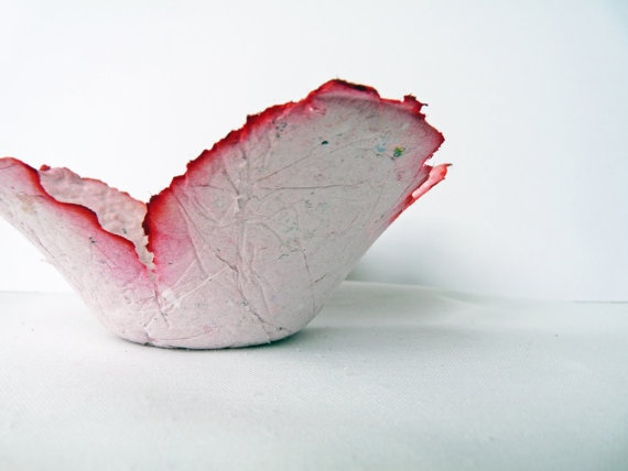 Paper Bowl Flower Dish OOAK by OKIFOLKI on Etsy, £10.00