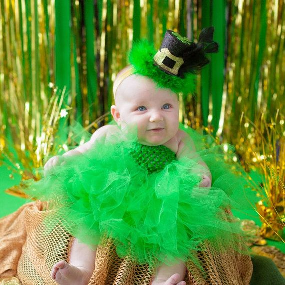 3pc LITTLE LEPRECHAUN Tutu Dress Set w/ Belt & Top Hat Headband, Smash Cake Birthday, Infant, Newborn, Baby, Photoprop, Photo Shoot, Costume