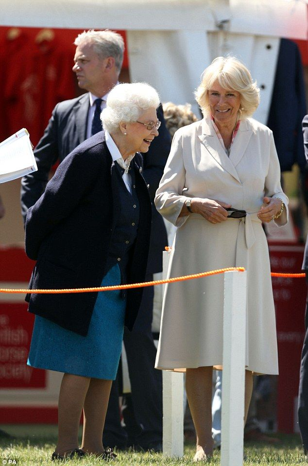 The Duchess of Cornwall is all smiles as she greets the Queen at the Royal Windsor Horse Show - 13th May 2015