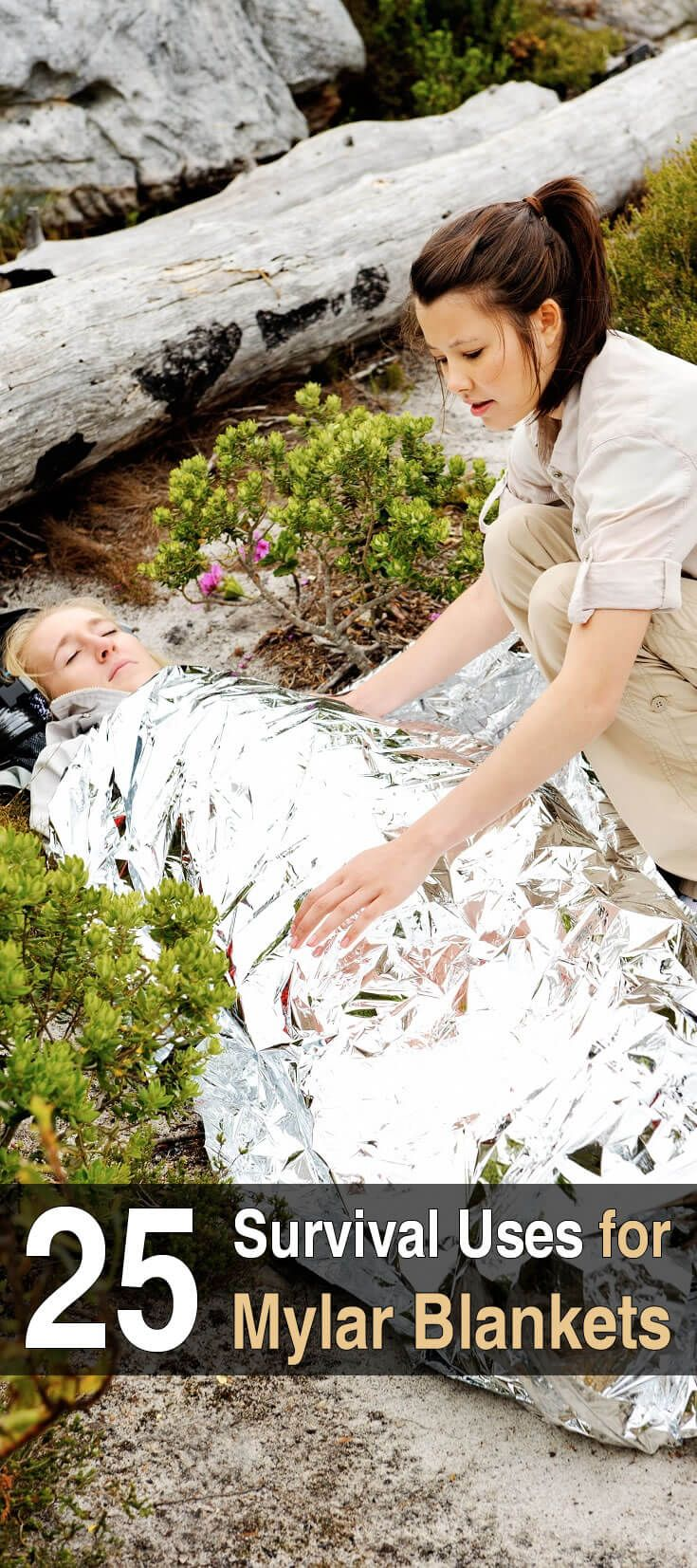 Mylar blankets are small, durable, weigh only a few ounces, retain 90% of your body heat, and have dozens of survival uses in an emergency.