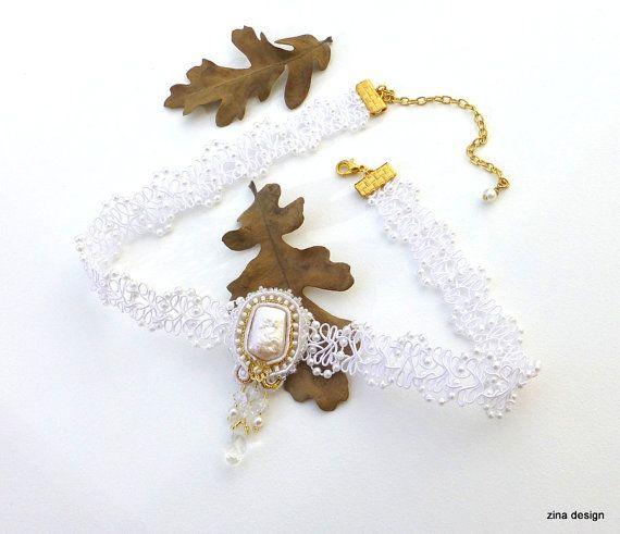 White Choker Lace Choker Soutache Necklace by ZinaDesignJewelry