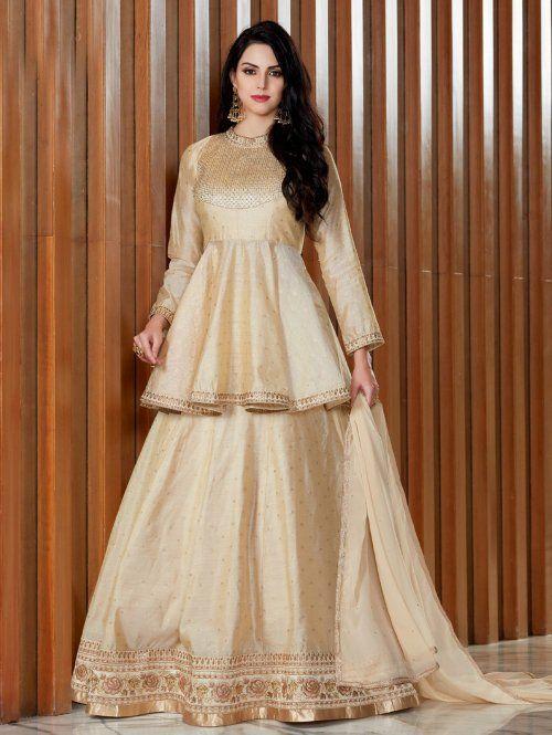 33dee57427 Golden Silk Designer Lehenga Choli with Peplum Blouse in 2019 ...