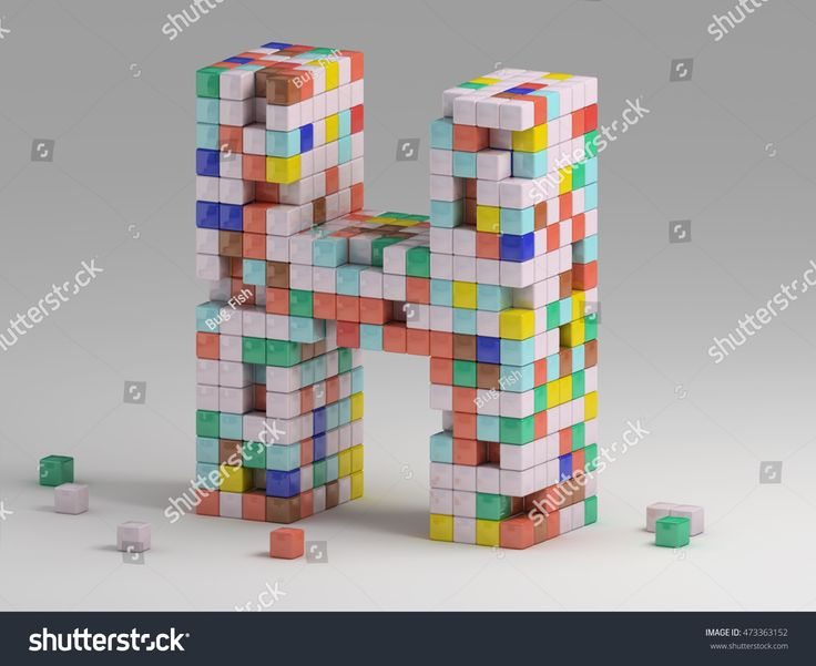 3d rendering of colorful pixeleted alphabet on white background. Fun handmade lettering. Voxels font, 8 bit style type. Cubic 3d, pixel art. Uppercase letter H
