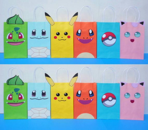 Pokemon Favor Bags Party Birthday Favors Goo Goody Loot Treat Candy Gift Printable Decoration In 2018