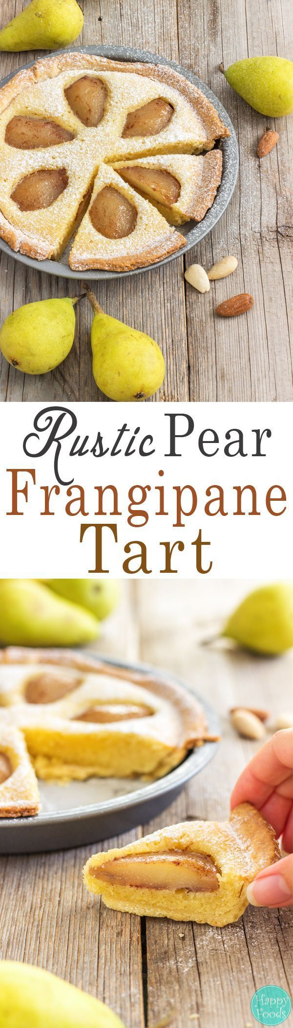 Rustic Pear Frangipane Tart - Homemade fresh pear and almond tart recipe. You will love this easy to follow dessert. ♥️ | http://happyfoodstube.com