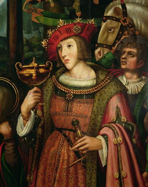 """Charles Quint (v. 1519). Détail de Marco Cardisco (Marco Calabrese),  """"L'adoration des rois mages"""", Naples, Museo Civico Castel Nuovo."""